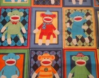 Sock Monkey Fabric Colorful  By Fat Quarter New BTFQ