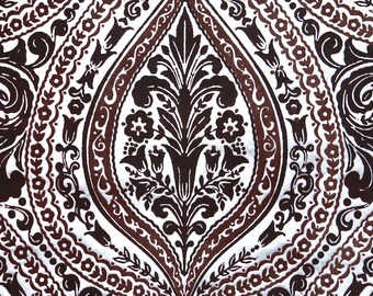 Retro Flock Wallpaper by the Yard 70s Vintage Flock Wallpaper - 1970s Silver and Chocolate