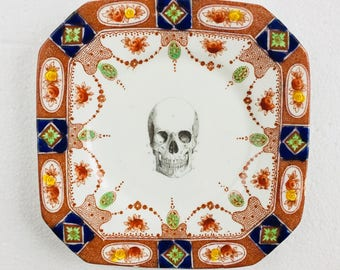 Skull Cake Tea Plate Square Blue Green Brown Flowers Pattern White Vintage China Made in England Wedding Anniversary Gift Wall Art Collage