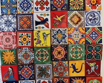 "Magnets Ceramic tiles Mexican Talavera Fridge Magnets measuring 2""x2""  (set of 4)"