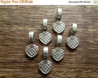 ON SALE 40 x Antique Silver Bails Silver Pendants Heart Shaped Flat Pad Necklace Bail 17x8mm