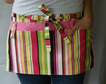 Half Apron with pockets and loop in pink green yellow black and off-white stripes