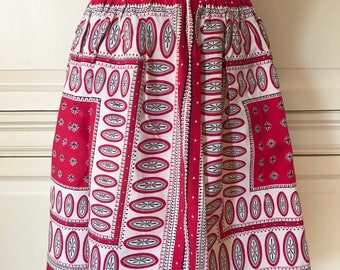 Vintage Kitchen Apron Retro Red Pattern