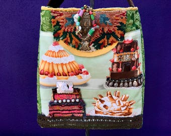 """Handmade one of a kind imported French Pierre Frey """"cake"""" textile cross body or shoulder bag purse with mirrored vinage back from India"""