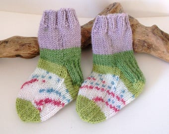 Multicoloured  hand knitted self patterning baby boy or girls socks. 9 to 18 months. UK 3  EU 19  US 3.5 Purple and green