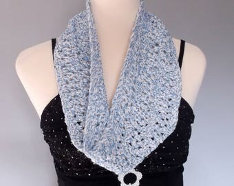 Hand knitted women's lacy infinity cowl scarf neckwarmer. Summer lightweight cowl fashion accessory. Blue and white.