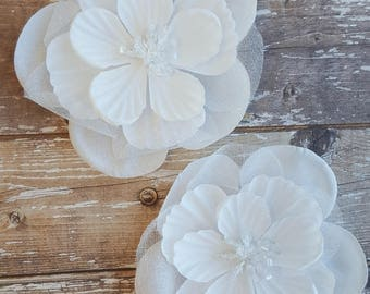 Garden Basics Snow Sheer flower #303562 | Bazzill Basics Paper BBP | Sheer White flower for scrapbooking, card making, and paper crafts