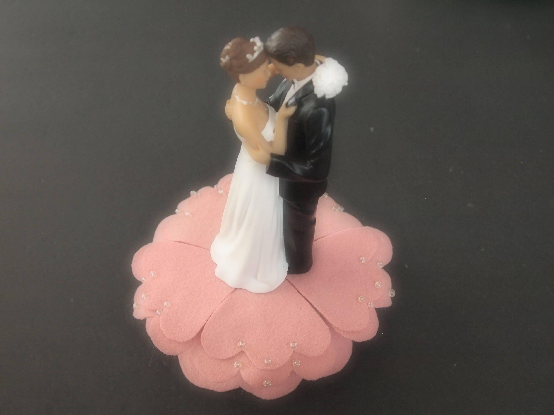Wedding Cake Topper Bride Groom Blush Pink Choose Hair and Flower ...