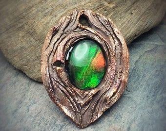 Vivid Ammolite Quartz Capped Triplet Bronze Pendant