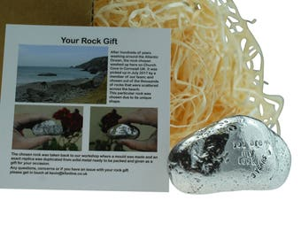 3rd Anniversary You Are My Rock Gift Idea - Solid Metal Heavy Polished Rock Gift for 3 Year Anniversary