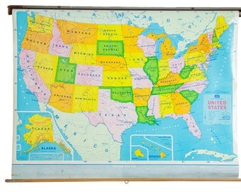 Vintage School Map Etsy - Us vintage map with dowel