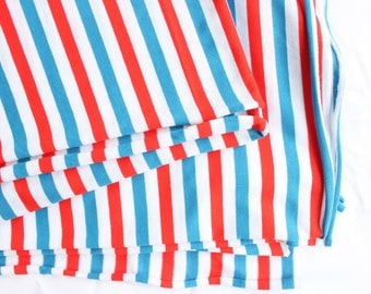 Vintage Americana Terrycloth Knit Fabric in Red White and Blue . Stretch Knit Romper material 1970s 70s 80s 1980s