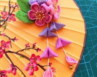Hair Clip- Japanese Kanzashi Flower pin and Hair Flower - Fabric Flower Hair Accessory - cherry blossom