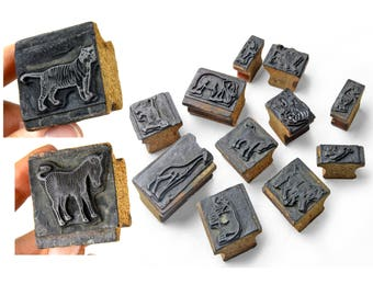 antique wood printing blocks, animals, tiger, zebra, set of 11, letterpress, wood stamps, animal rubber stamps