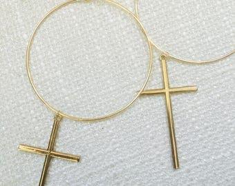 Hoop Earrings, Cross Earrings, Gold Crosses, Statement Earrings, 90's fashion, Fashion, Big Bold Earrings, Trendy Jewelry, Summer Fashion
