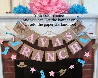 Cowboy cowgirl Birthday Decorations - Ranch themed birthday banner-  Pony baby shower decor- Saddle Up party decor- your colors