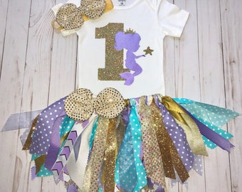 Girls Mermaid First Birthday Outfit,Fabric Tutu Set,Mermaid Aqua Lavender Tutu,Cake Smash Outfit,Baby Girl 1st Mermaid Birthday,Gold Glitter