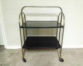 Vintage Mid Century Fold N Roll, Versa Table, Metal Table, Folding Cart, Serving Cart, Kitchen Bar, Black Wheels