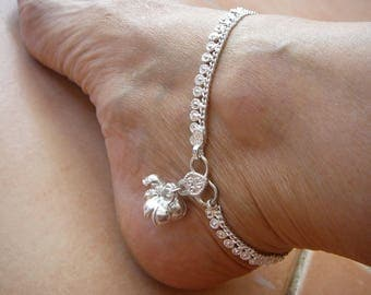 bare foot decor silver ankle chain gopi ankle bells vedic jewellery indian tribal ornaments belly dance bollywood gypsy sunnydaydreams