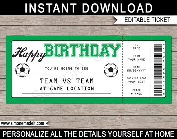 Soccer Game Ticket Birthday Gift - Surprise Ticket to a Soccer Game ...
