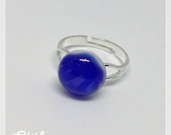 Blue fused glass ring