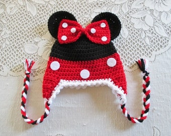 READY TO SHIP - 5 Years to Small Adult Size - Red Minnie Mouse Crochet Hat - Winter Hat or Photo Prop