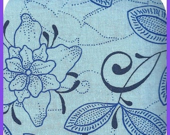 ON SALE Shades of Blue FAT Quarter Fq Cotton Fabric Flowers 18 x 21 Inch