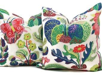 Decorative Pillow Cover Exotic Butterfly in Spring  18x18, 20x20, 22x22, 24x24, Eurosham, Lumbar Pillow, Floral pillow, Josef Frank pillow