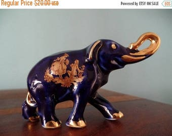 30% OFF SALE Limoges Elephant Courting Scenes Cobalt Blue Gold Gilt Porcelain Figurine French Collectible
