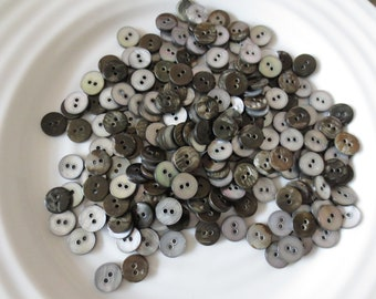 """3/8"""" Shell Buttons Silver Gray Grey Two Hole Small Size MOP Seashell Bulk Lot of 200"""