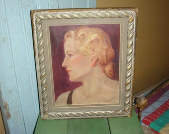 Oil Painting Portrait Woman Profile 1930s Framed under Glass on Canvas