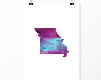 Missouri watercolor wall art | Missouri art print | St Louis Missouri art | Kansas City Missouri art | Missouri home decor | MO state art