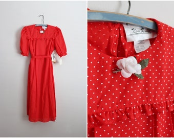 70s Polka Dots Babydoll Dress / 70s Dress / Tunic Dress / Red and White Polka / 1970s Deadstock/ Size S/M