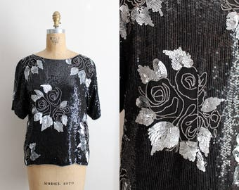 Vintage 80s Sequin Floral Top / Black and Silver Beaded Blouse / Art Deco Party Top /Silk Blouse / Size S/M