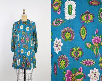 Vintage 60s Mod Peter Pan Collar Mini Dress / Blue Dress / Shift Dress / Lady Bird Dress/ 1960s Dress/ Mod Dress / Size S/M