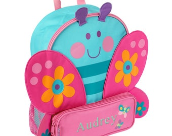 Sidekicks Butterfly Personalized Backpack, back to school, backpack, butterflies, toddler, book bag, schoolbag, blue, pink -gfyE000381