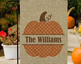 Family Name Pumpkin Personalized Burlap Garden Flag, fall garden flag, custom, orange, halloween, thanksgiving, home decor -gfy830106072BDS