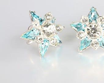 Rhinestone Star Earrings, Christmas Star jewelry, White Blue Topaz Earrings, Vintage jewelry