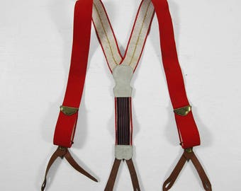 Vintage Red Braces Button Suspenders Elastic Leather Tabs