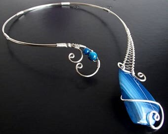 Blue Agate Necklace, Collar Necklace, Statement Necklace, Wire Necklace, Silver Necklace, Unique Necklace