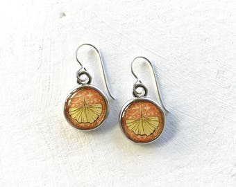 GINKGO LEAF JEWELRY | Silver Ginkgo Earrings