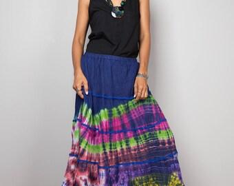 Summer skirt, maxi skirt, tie dye skirt, boho skirt, rainbow skirt, tiered skirt, festival skirt : Funky Collection