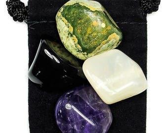 HIGHER GUIDANCE Tumbled Crystal Healing Set - 4 Gemstones w/Description & Pouch - Amethyst, Moonstone, Onyx, Rhyolite