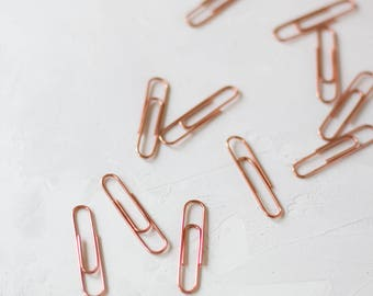 Rose Gold Paper Clips - Large - 25 pc