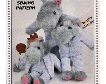 Instant Download PDF Easy Full Size Printable Sewing Pattern to make a Hippo Family in Pyjamas Dungarees Soft Dressed Cuddly Fabric Toy