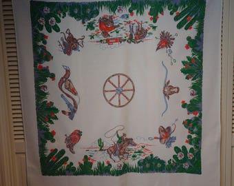 Vintage Cowboy Table Cloth