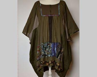 Plus size lagenlook dress, women's oversize dress, olive loose dress, patchwork dress kimono, upcycled clothing, caftan plus size