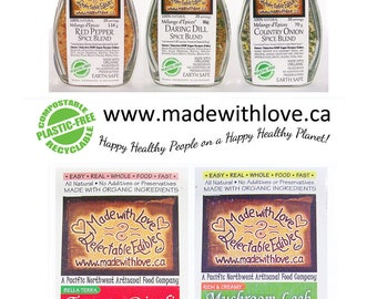 Gourmet Goodies - Kitchen Gift Set Organic Herbs Spices - Pantry Staples Gourmet Soup Mixes - Made with Love - Food Gift under 60