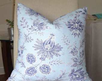 NEW Baby Blue & Navy Floral Pillow Cover Home Decor by HomeLiving Size 18x18