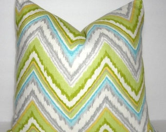 FALL is COMING SALE Dena Design Chevron Pillow Cover Lime Green Grey Blue Yellow Zig Zag Throw Pillow Cover 18x18